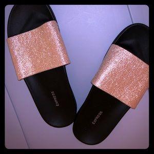 Express Glitter Gold and Black Slides